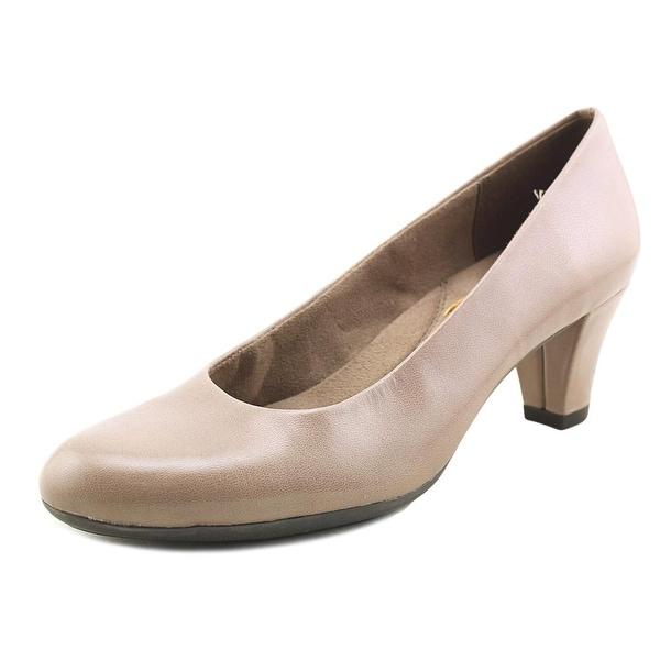 Aerosoles Shore Thing Women Round Toe Leather Tan Heels
