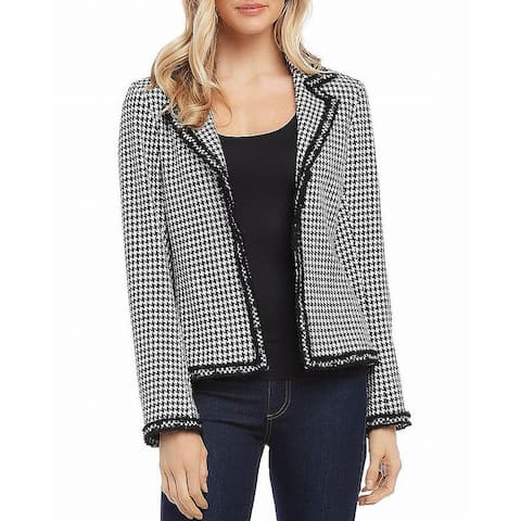 Karen Kane Womens Blazer Black White Small S Frayed Trim Houndstooth