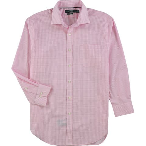 """Ralph Lauren Mens Ultra-Flex Classic Fit Button Up Dress Shirt, pink, 17"""" Neck 32""""-33"""" Sleeve - 17"""" Neck 32""""-33"""" Sleeve"""