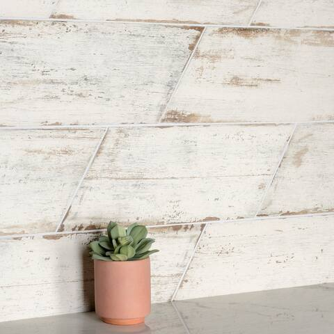 "SomerTile Retro Naveta Blanc 7.13"" x 16.38"" Porcelain Floor and Wall Tile"