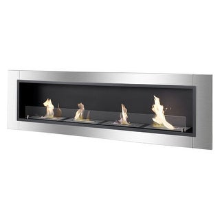 Ignis WMF-022G-3 Accalia Wall Mounted / Recessed Ventless Ethanol Fireplace with Glass Barrier - black, stainless steel