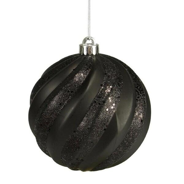 """Jet Black Glitter Swirl Shatterproof Christmas Ball Ornament 6"""" (150mm)"""