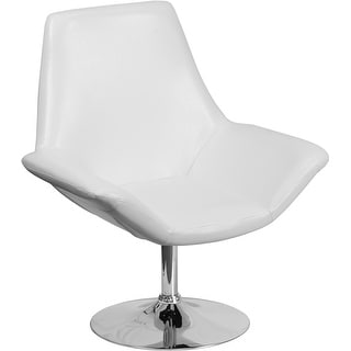 Radisson White Leather Side Office Reception/Guest Chair w/Integrated Arms