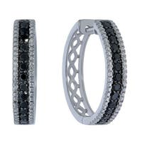 Prism Jewel 0.75Ct Round Cut Black Diamond with Diamond Effect Hoop Earrings