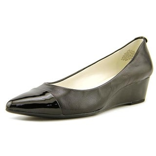 Anne Klein Valicity Women Open Toe Leather Black Wedge Heel