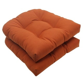 Set of 2 Cinnamon Burnt Orange Outdoor Patio Tufted Wicker Seat Cushions 19""