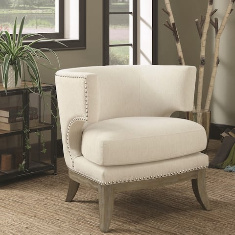 Mid Century Design Cream-White Chenille Living Room Accent Chair with Nailhead Trim