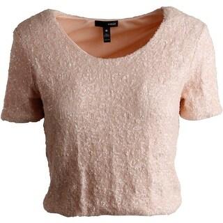 Aqua Womens Sequined Crop Dress Top
