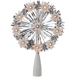 "7"" Silver Tinsel Snowflake Starburst Christmas Tree Topper - Clear Lights - N/A"