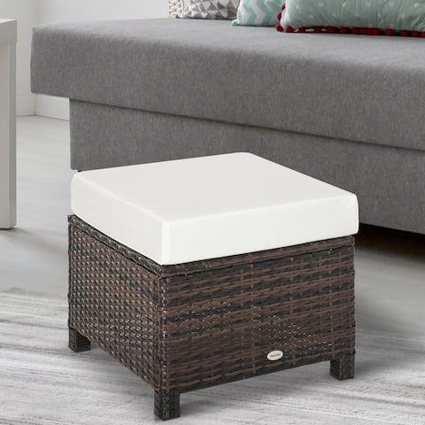 Outsunny Modern Rectangle Rattan Wicker Ottoman Footrest with Removable Cushion and Modern Design for Outdoor/Indoor Use