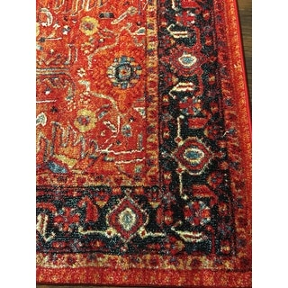 "Safavieh Vintage Hamadan Traditional Orange/ Navy Distressed Rug - 6'7"" x 6'7"" Square"