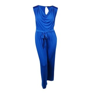 Spense Women's Sequined-Shoulders Belted Jersey Jumpsuit - blue/royal - 14W