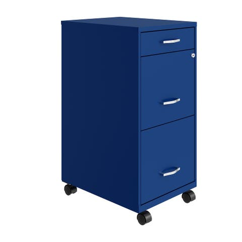 "Space Solutions 18"" Deep 3 Drawer Mobile File Cabinet, Classic Blue"