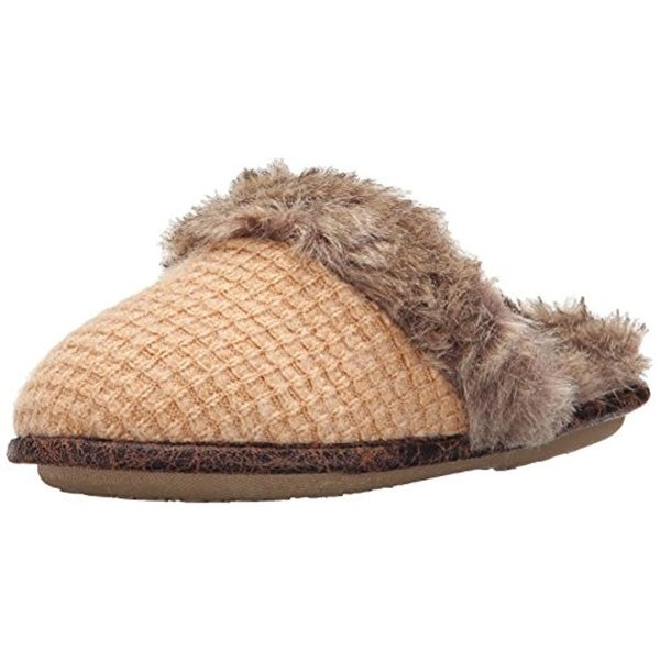 Cuddl Duds Womens Clog Slippers Knit Faux Fur - 9/10