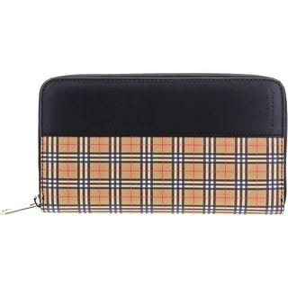 Link to Burberry Women's Leather Signature Check Colorblocked Zip Around Wallet - Antique Yellow/Black - O/S Similar Items in Women's Designer Clothing