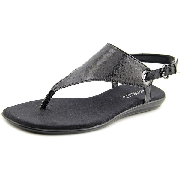 Aerosoles Conchlusion Women Open Toe Leather Black Thong Sandal