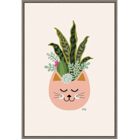 Canvas Art Framed 'Cats and Plants' by Annie Bailey Art 16 x 23-inch