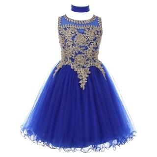 Girls Royal Blue Gold Trim Wire Tulle Junior Bridesmaid Dress 8-16