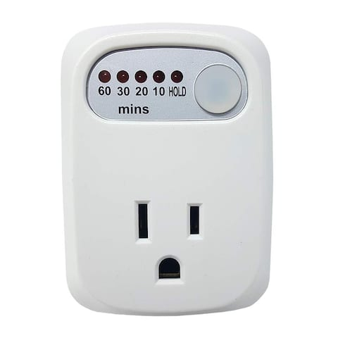 Simple Touch Auto Shut-Off Power Safety Outlet, 60-30-20-10 Minute Electrical Countdown Timer with HOLD Option