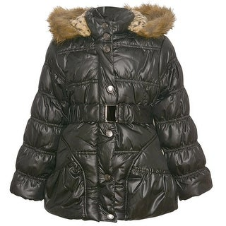 Urban Republic Little Girls Black Fur Trim Belted Hooded Puffer Coat