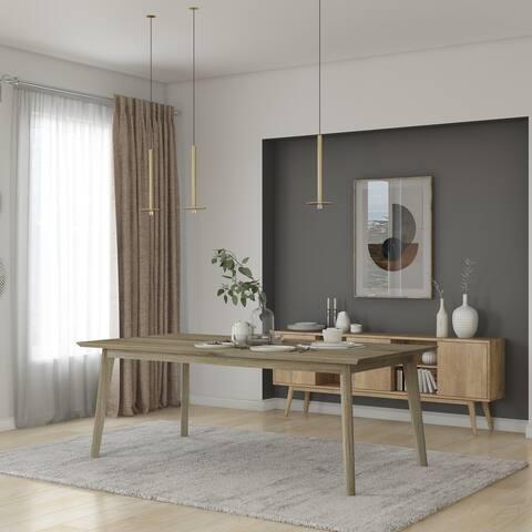 Midtown Concept Indoor Croatia Wire Brushed Wood Dining Table - Waxed Grey Oak - Waxed Grey Oak