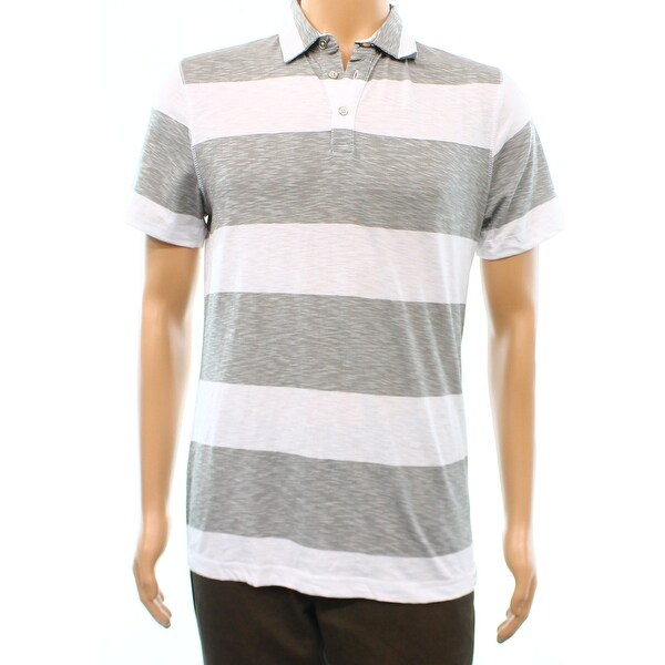6f0aab9f Shop Calvin Klein NEW Gray White Wide Stripe Mens Size Small S Polo Shirt -  Free Shipping On Orders Over $45 - Overstock - 17378742