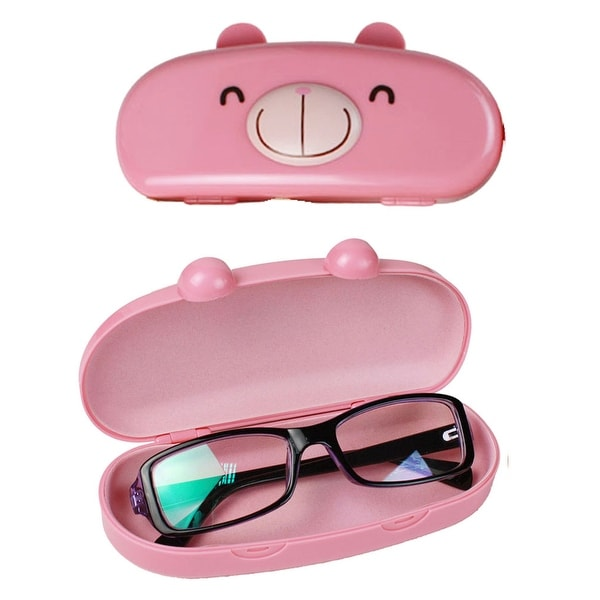 Kids (Fits All Ages) Hard Shell Cartoon Animal Face Eyeglass Case For Boys and Girls, Bonus Microfiber Cloth by JAVOedge