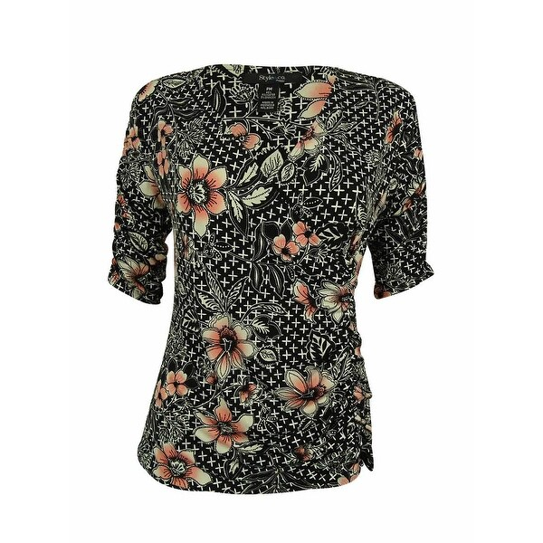 Style & Co. Women's Elbow Sleeves Floral Print Top - pm