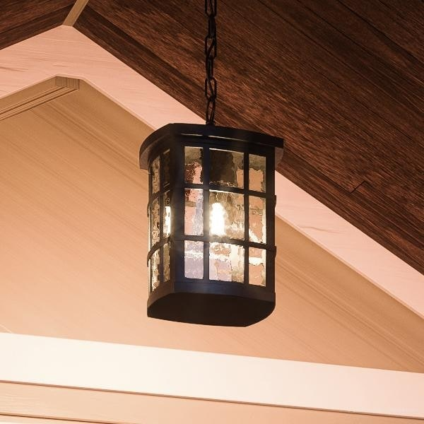 Luxury Craftsman Outdoor Pendant Light 15 H X 9 5 W With Tudor Style Highly Detailed Design Black Silk Finish