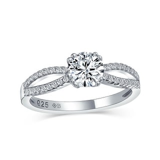 Link to 1CT Solitaire AAA CZ 925 Sterling Silver Engagement Ring Split Band Similar Items in Rings
