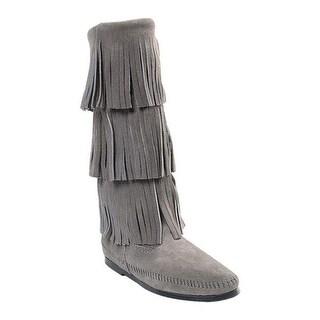 Minnetonka Women's 3 Layer Fringe Boot Grey Suede