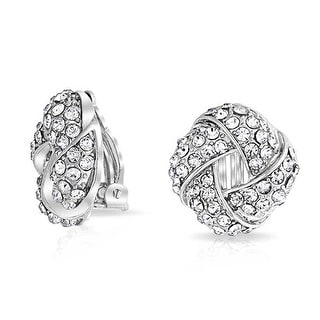 Bling Jewelry Woven Crystal Love Knot Clip On Earrings Rhodium Plated Alloy