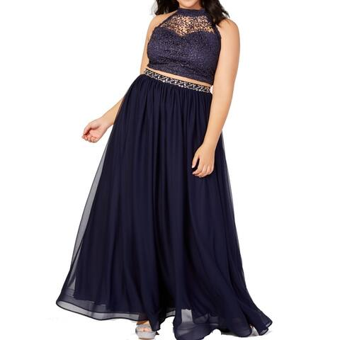 Sequin Hearts Womens Gown Navy Blue Size 14 Glitter Crochet 2-Pc.