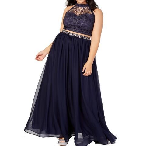 Sequin Hearts Womens Gown Navy Blue Size 18 Glitter Crochet 2-Pc.