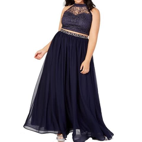 Sequin Hearts Womens Gown Navy Blue Size 20 Glitter Crochet 2-Pc.