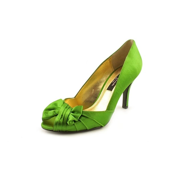 Nina NEW Green Women's Shoes Size 5.5M Forbes Satin Open Toe ump