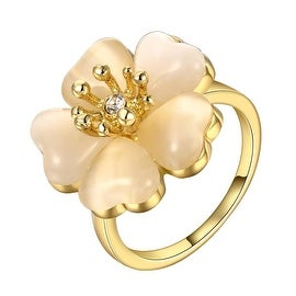 Gold Plated Blossoming Floral Rose Ring