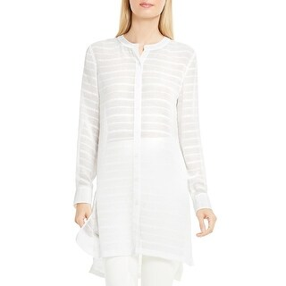 Vince Camuto Womens Button-Down Top Textured Long Sleeve