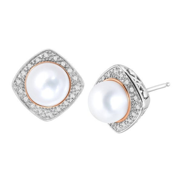Honora 8.5-9 Mm Freshwater Pearl Square Earrings With Diamonds in Rose Gold-Plated Sterling Silv