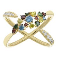 Prism Jewel 0.76Ct Multi Color Diamond With G-H/SI1 Natural Diamond Anniversary Ring