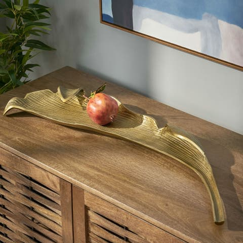 Tennga Indoor Aluminum Handcrafted Decorative Leaf Platter by Christopher Knight Home