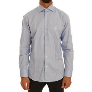 Cavalli Cavalli Blue Cotton Slim Fit Dress Shirt