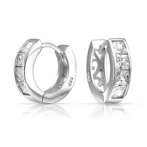 Square Princess Cut CZ Channel Set Kpop Huggie Hoop Earrings For Women For Men Cubic Zirconia 925 Sterling Silver