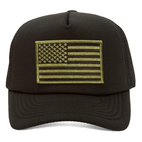 Shop Military Patch Adjustable Trucker Hats - Olive American Flag ... edd8998bb270