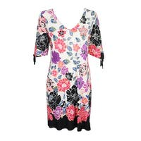 Msk Pink Black Printed Cold-Shoulder Cutout Dress 4
