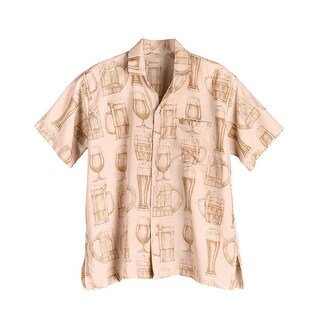 What on Earth Men's Beer Glass Print Camp Shirt - Short Sleeve Button Front -Tan (4 options available)