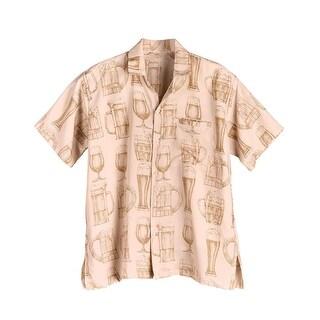 Men's Beer Glass Print Camp Shirt - Short Sleeve Button Front -Tan