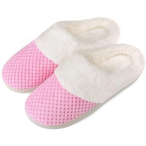VONMAY Women's Slippers House Shoes Fleece Fuzzy Plush Lining Comfort Memory Foam Slip On Clog Coral Indoor/Outdoor