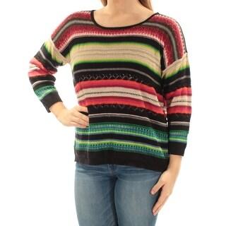 RALPH LAUREN $110 Womens New 1521 Black Green Striped Dolman Sleeve Top M B+B