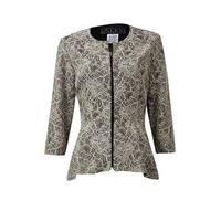 Alex Evenings Women's Bonded Floral Lace Zipper Blouse - Champagne/Black